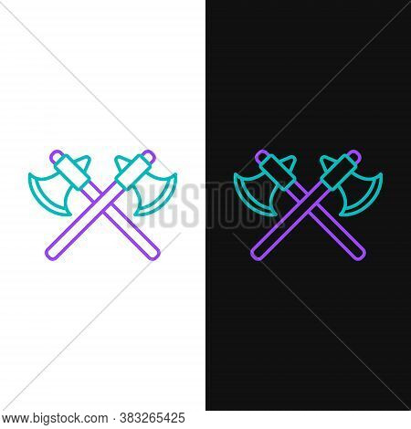 Line Crossed Medieval Axes Icon Isolated On White And Black Background. Battle Axe, Executioner Axe.