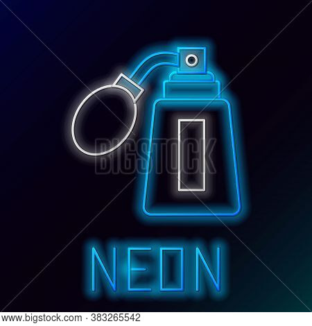 Glowing Neon Line Aftershave Bottle With Atomizer Icon Isolated On Black Background. Cologne Spray I