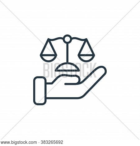 justice scale icon isolated on white background from law collection. justice scale icon trendy and m