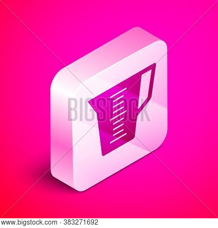 Isometric Measuring Cup To Measure Dry And Liquid Food Icon Isolated On Pink Background. Plastic Gra