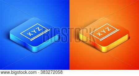 Isometric Xyz Coordinate System On Chalkboard Icon Isolated On Blue And Orange Background. Xyz Axis