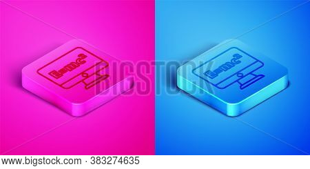 Isometric Line Math System Of Equation Solution On Computer Monitor Icon Isolated On Pink And Blue B