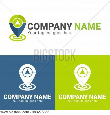 Gps Location Logo Design Template Isolated On White Background. Gps In Pin Logo Design. Pin Logo Wit