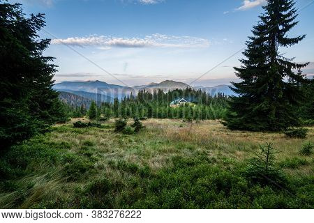 Foggy Morning In The Carpathian Mountains, Ukraine. Old Wooden House In The Mountains. Spruce Forest