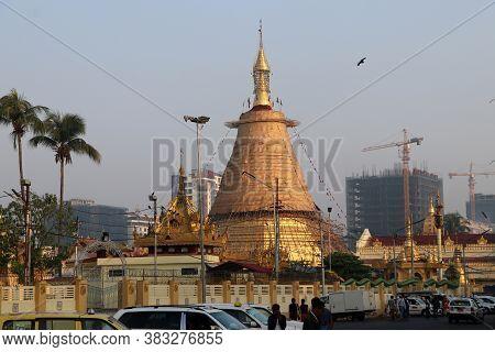 Yangon, Myanmar Feb 25, 2019: The Botataung Pagoda A Famous Pagoda Located In Downtown Yangon. It Is