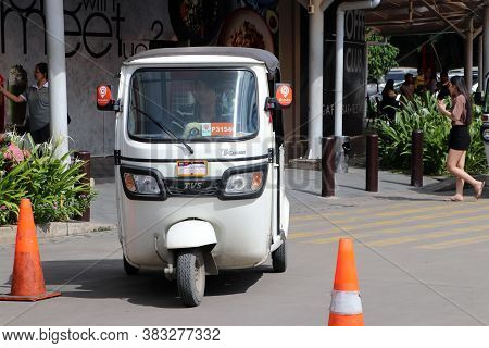 Phnom Penh, Cambodia, August 17, 2019 : Tuk Tuk Or Taxi Tricycle In White Color On The Road, Lifesty