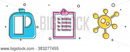 Set Bottles For Cleaning Agent, Clipboard With Checklist And Vir