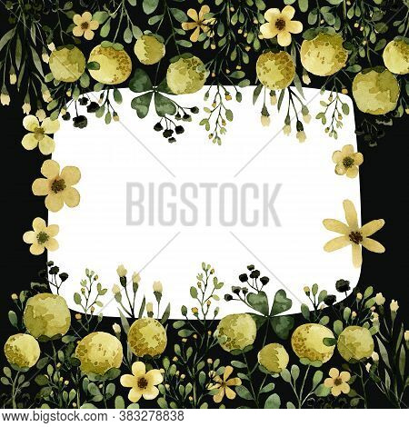 Yellow Flowers And Plants Watercolor, Green Herbal Organic Nature Template Frame Illustration