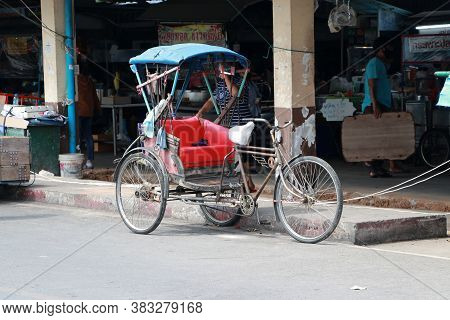 Pathumthani, Thailand - 29 May, 2020 : The Tricycle Is Parked On The Roadside.