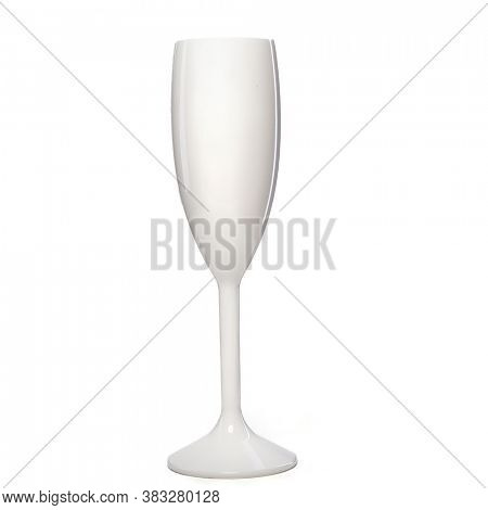 White wine glass for gourmets. Isolated white glass on wite background for festive events