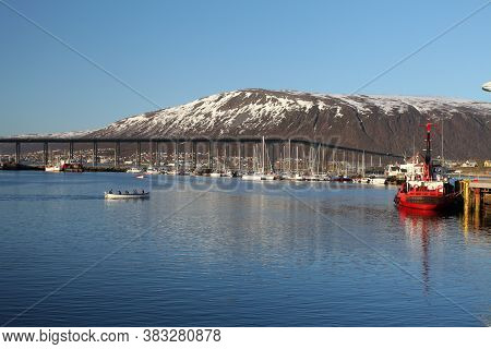 Harbor In Tromso, Norway At A Day