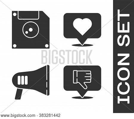 Set Dislike In Speech Bubble, Floppy Disk For Computer Data Storage, Megaphone And Like And Heart Ic