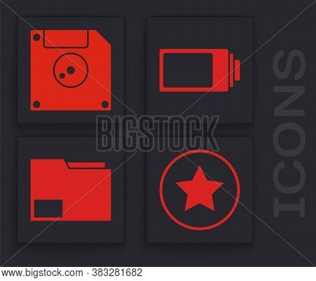 Set Star, Floppy Disk For Computer Data Storage, Battery Charge Level Indicator And Document Folder