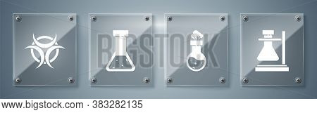 Set Test Tube Flask On Stand, Test Tube And Flask Chemical, Test Tube And Flask Chemical And Biohaza