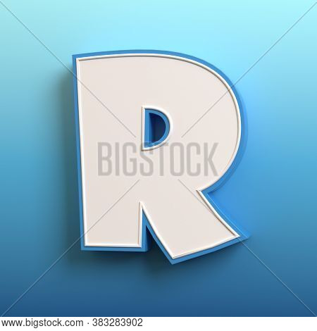 Cartoon Font, 3d Rendering, Letter R Three Dimensional Image