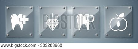 Set Apple, Tooth, Diamond Teeth And Dental Clinic For Dental Care Tooth. Square Glass Panels. Vector