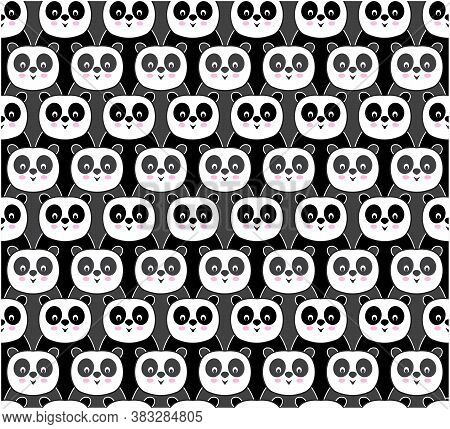Seamless Pattern With Repeated Pandas. Colorful Texture For Fabric Or Design With Pandas