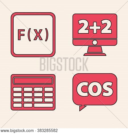 Set Mathematics Function Cosine, Function Mathematical Symbol, Equation Solution And Calculator Icon