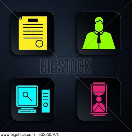 Set Old Hourglass With Sand, The Arrest Warrant, Search On Computer Screen And Lawyer, Attorney, Jur