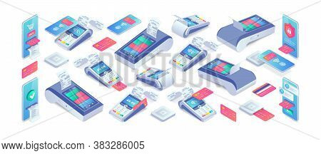 Electronic Payments Isometric Set. 3d Cashless Payment Machine, Smartphone, Credit Card, Smart Termi