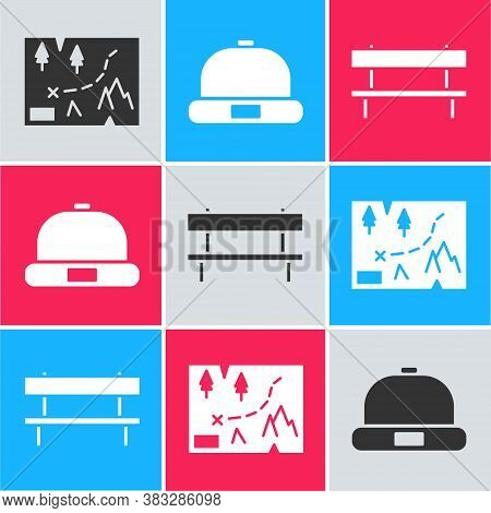 Set Folded Map With Location, Beanie Hat And Bench Icon. Vector