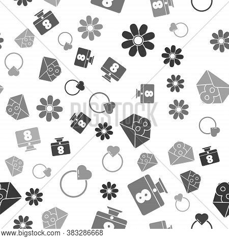 Set Flower, 8 March On Monitore, Envelope With 8 March And Wedding Rings On Seamless Pattern. Vector