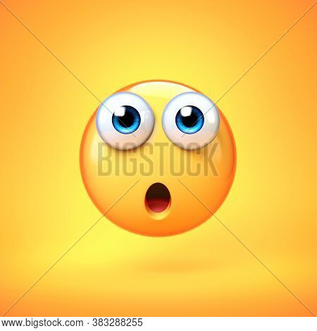 Surprised Emoji Isolated On Yellow Background, Shocked Emoticon 3d Rendering