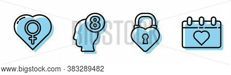 Set Line Castle In The Shape Of A Heart, Female Gender In Heart, 8 March In Human Head And Calendar