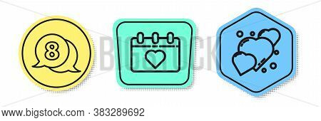 Set Line 8 March In Speech Bubble, Calendar With 8 March And Heart. Colored Shapes. Vector