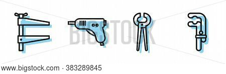 Set Line Pincers And Pliers, Clamp Tool, Electric Hot Glue Gun And Clamp Tool Icon. Vector