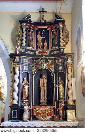 KLANJECKO JEZERO, CROATIA - NOVEMBER 06, 2013: The Altar Of Suffering in the chapel of Saint George at the Lake in Klanjecko Jezero, Croatia