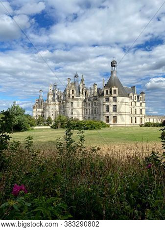 Beautiful garden of Chateau de Chambord in the Loire Valley, UNESCO world heritage in France