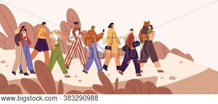 Flat Vector Cartoon Illustration Of People Following Influencer Or Teamleader. Leader Inspire Partne
