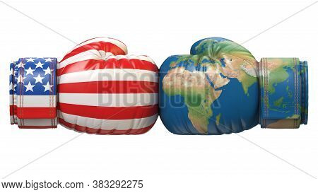 Usa Against The World Boxing Glove, America Vs. World International Conflict Or Rivalry 3d Rendering