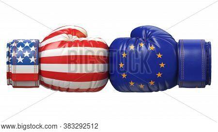 Usa Against Eu Boxing Glove, America Vs. European Union International Conflict Or Rivalry 3d Renderi