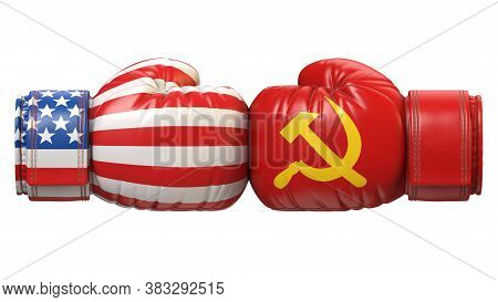 Usa Against Ussr Boxing Glove, America Vs. Russia International Conflict Or Rivalry 3d Rendering