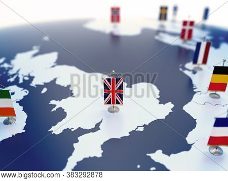 Flag Of United Kingdom In Focus Among Other European Countries Flags. Europe Marked With Table Flags