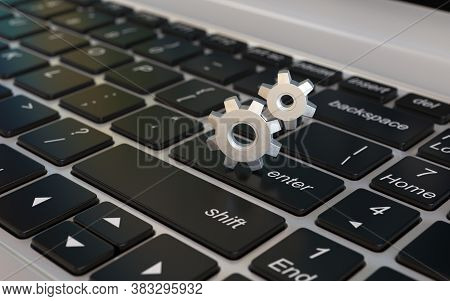 Adjustments, Options, Preferences, Settings 3d Icon, Cogwheels On Laptop Keyboard 3d Rendering