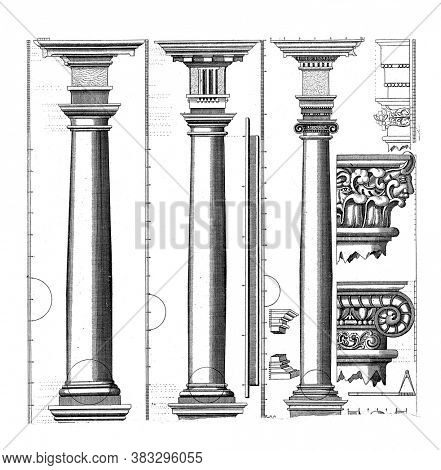 Three columns of the Tuscan, Doric and Ionic order on a pedestal. To the right of it two capitals etc, vintage engraving.