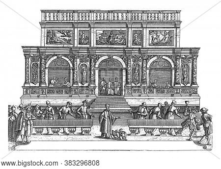 Loggetta del Sansovino on St Mark's Square in Venice, anonymous, 1610 The Loggetta del Sansovino with figures from the commedia dell'arte in the foreground, vintage engraving.