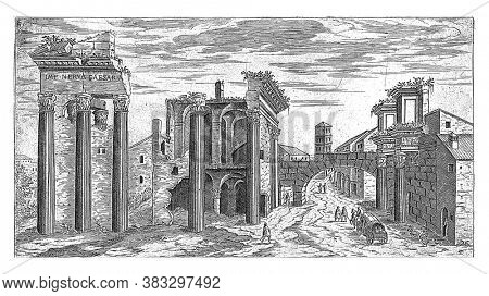 Ruins at the Forum of Nerva, Etienne Duperac, 1575 View of the ruins at the Forum of Nerva in Rome, vintage engraving.