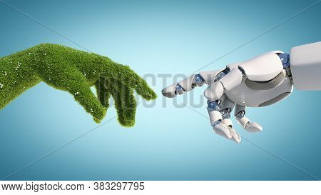 Nature And Technology Abstract Concept, Robot Hand And Natural Hand Covered With Grass Reaching To E