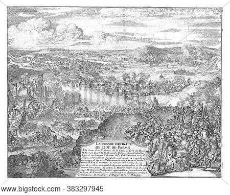 Retreat from the army of the Duke of Parma, 1592. View of the Seine valley with the cities of Rouen, Caudebec, Dieppe, vintage engraving.