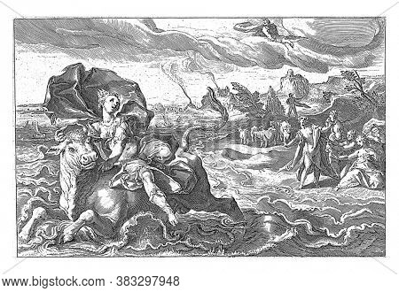 Europe is carried away by Jupiter in the form of a bull over the sea. To the right the maidservants of Europe desperately on the beach, vintage engraving.