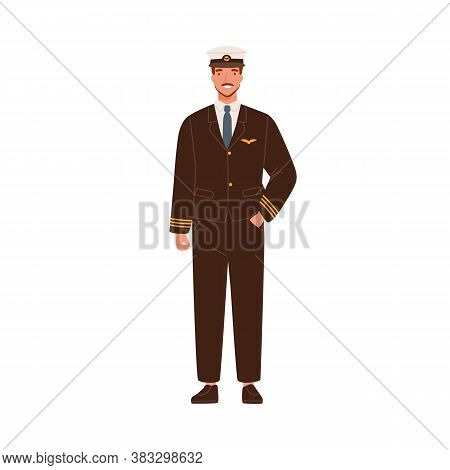 Smiling Male Aircraft Pilot In Modern Uniform And Cap Vector Flat Illustration. Happy Man Aircrew Ca
