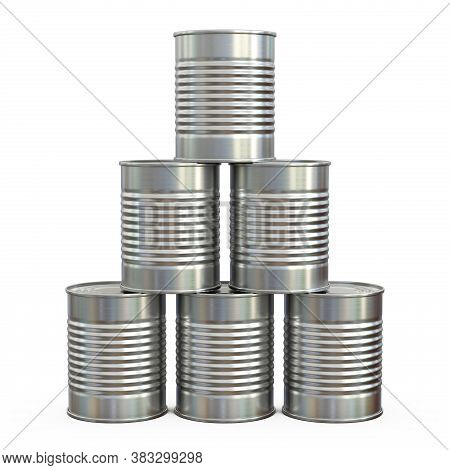 Tin Can Stack, Tin Can Pyramid Isolated On White Background 3d Rendering