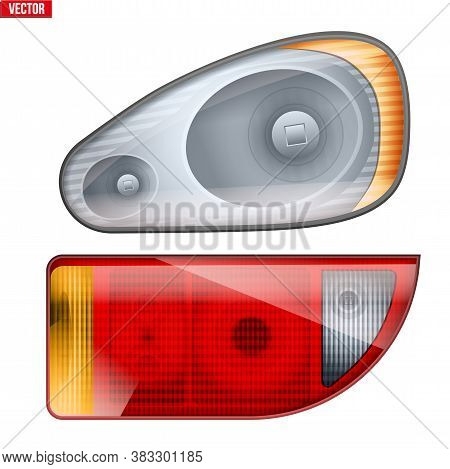 Rectangular Car Headlight And Backlight. Glass Case Of Frontlight And Backlight. Vector Illustration