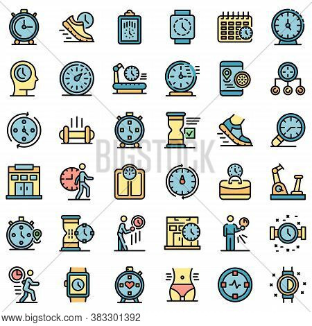 Gym Time Icons Set. Outline Set Of Gym Time Vector Icons Thin Line Color Flat On White