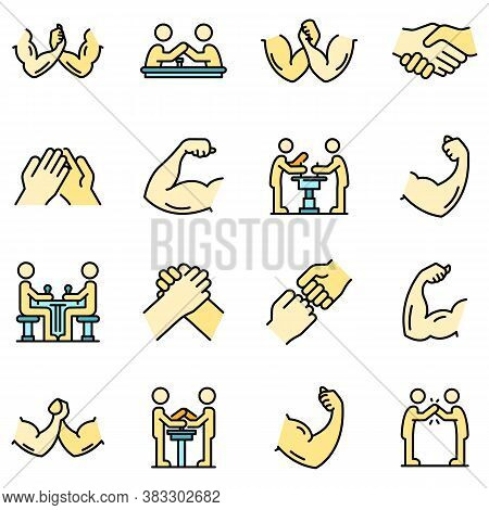 Arm Wrestling Icons Set. Outline Set Of Arm Wrestling Vector Icons Thin Line Color Flat On White
