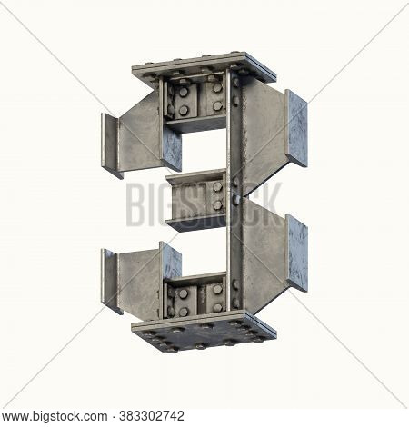 Steel Beam Font 3d Rendering Number 3, Three Dimensional Object